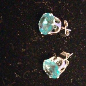 Aqua Blue Stud Earrings